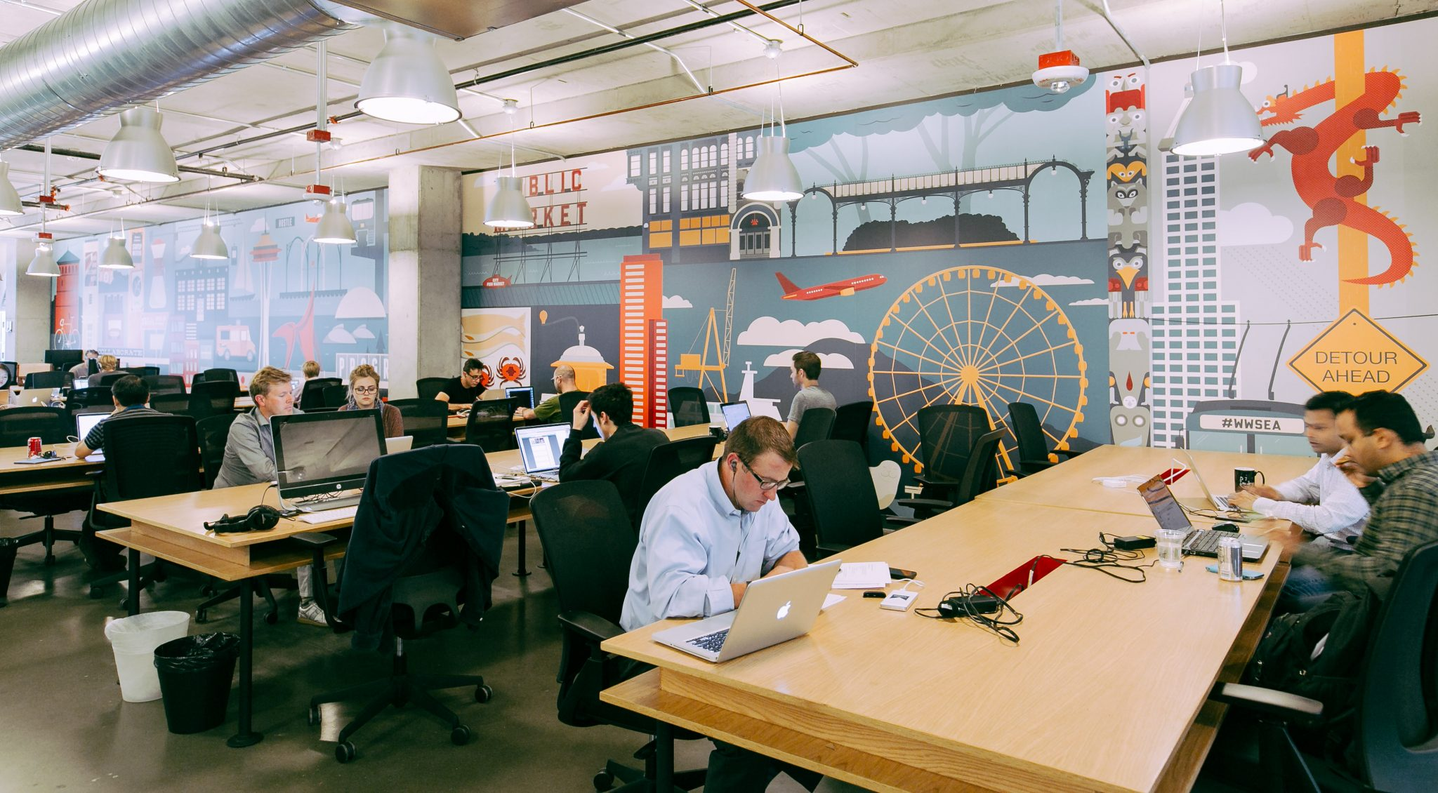 Consultants and freelancers in a co-working space