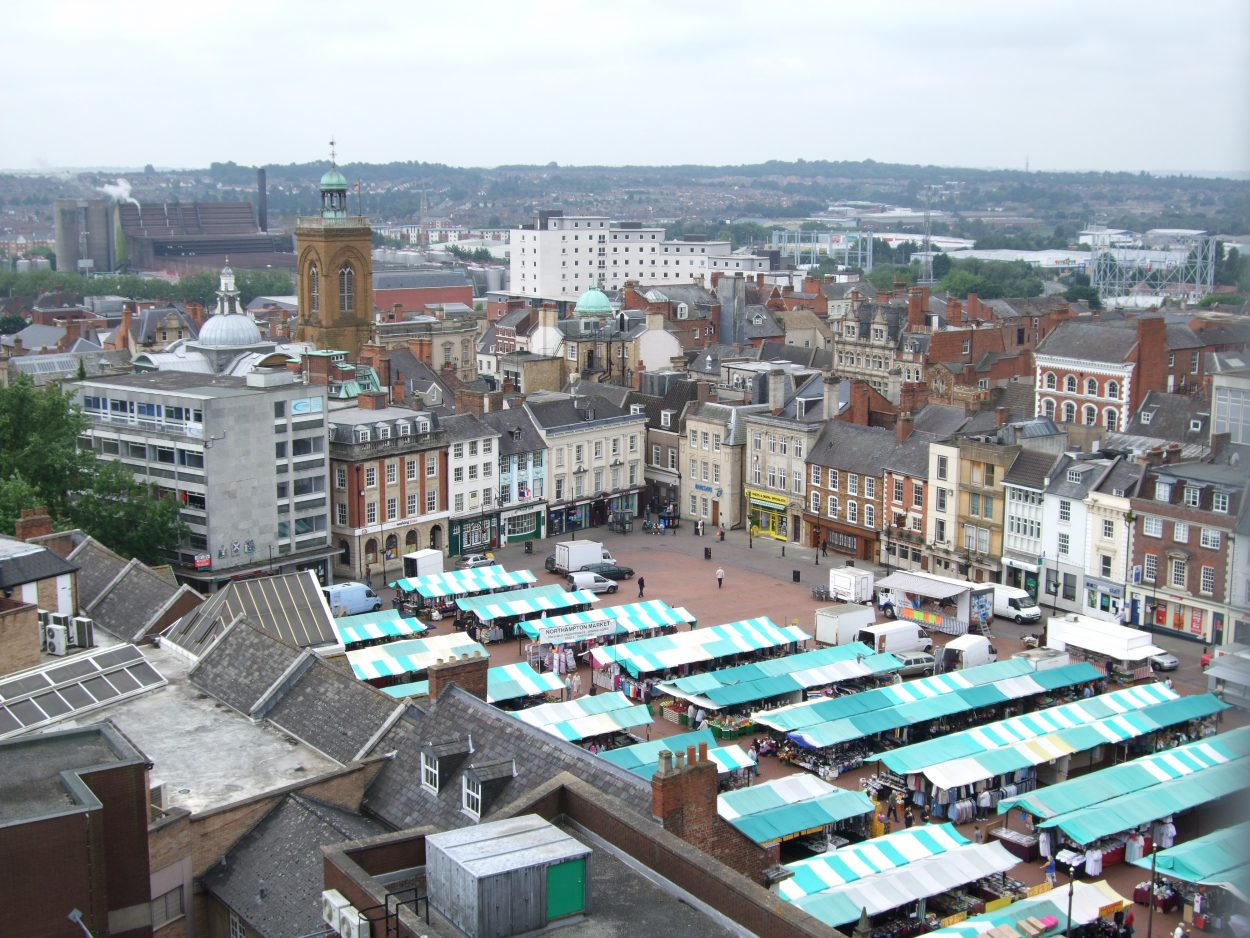 Arial View of Northampton UK Market Sq