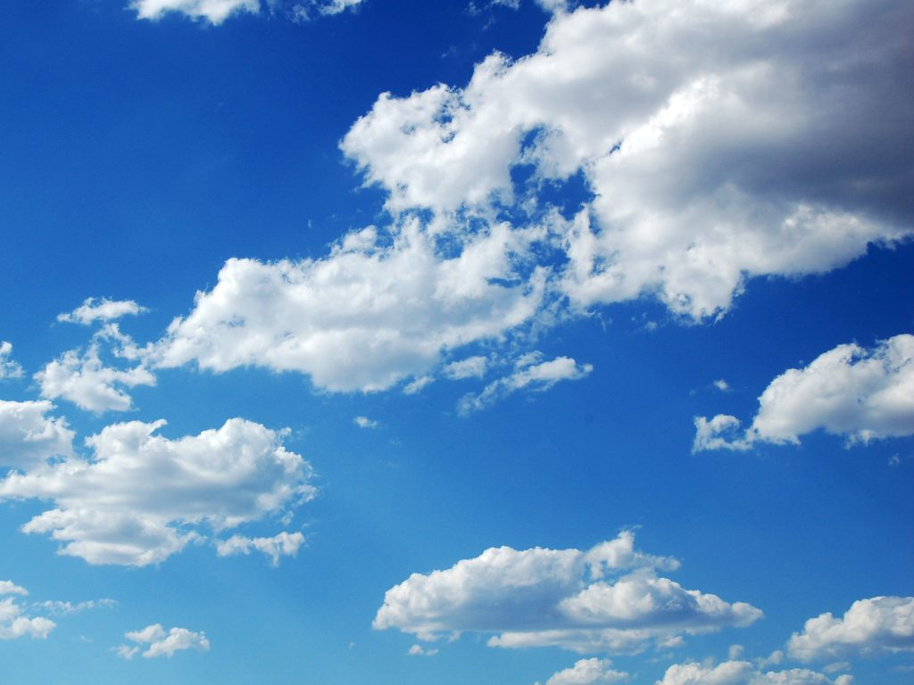 clouds in a bright blue sky