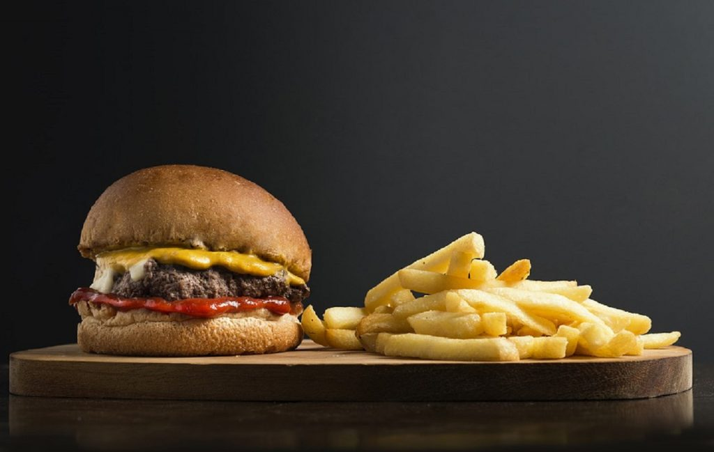 photo of burger and chips