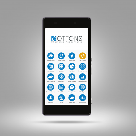 The app for Cottons Chartered Accountants displayed on a smartphone
