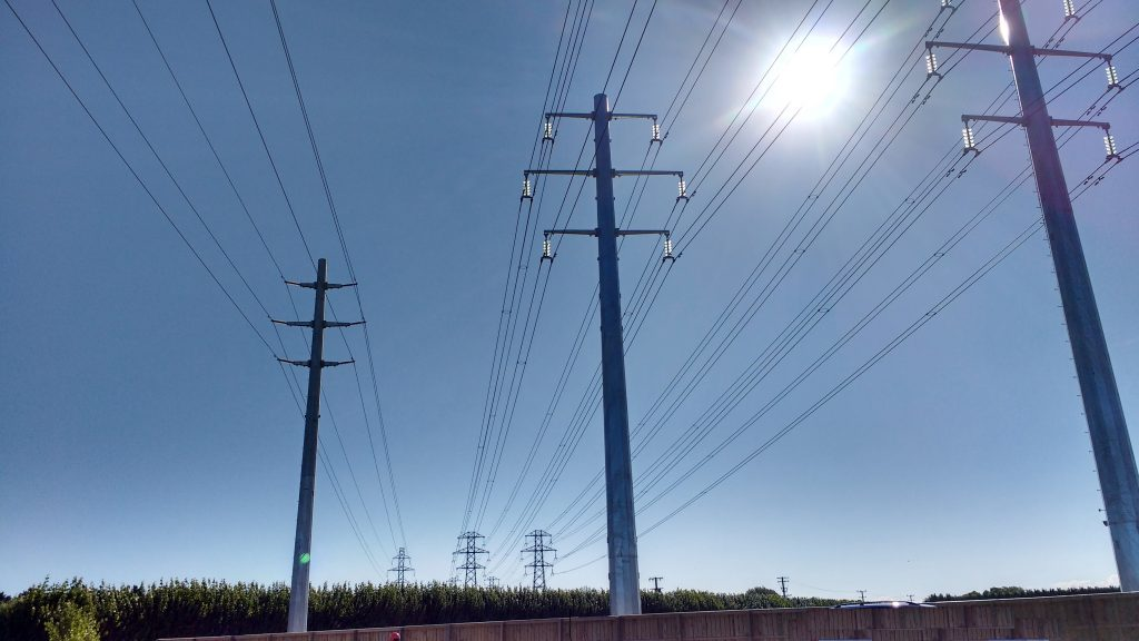 Electricity Pylons in the sunshine