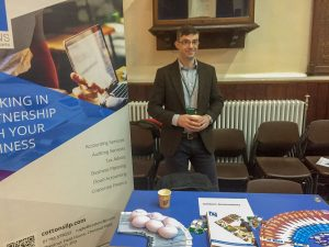 James Melvin at a careers fair